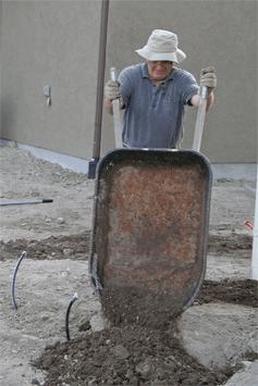 Dad with wheelbarrow