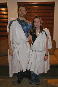 Jas and Rae in their Greek attire.
