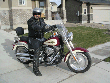 Dad looking cool on his Harley.