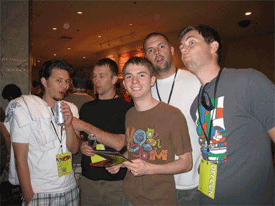 The boys eagerly wait in line to change their temp badges for super geeky ones