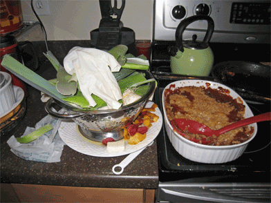 Yummy peach raspberry crisp...and a whole lot of mess.