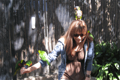 Me and my birdies. Notice the grossiest of the birds decided to take up residence on my head.