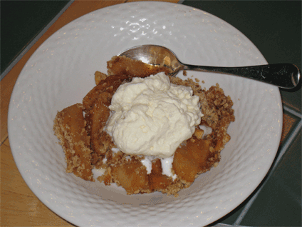 My apple crisp with whiskey enriched whipped cream.
