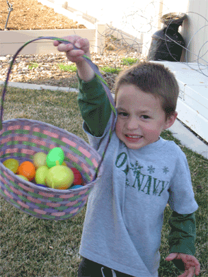 Miles paused very briefly in his quest for a golden egg to show me his loot.