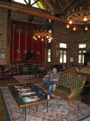 Jas relaxing in the lodge lobby.