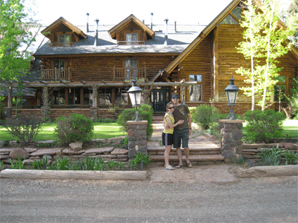 Us standing outside the Lodge at Red River Ranch.