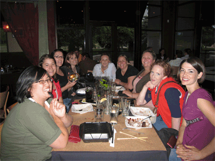 The ladies chowing down some sushi at Happy Sumo