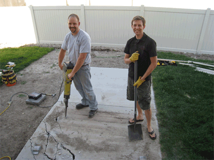 Our stamped concrete patio was one of last summer's projects. Jason's