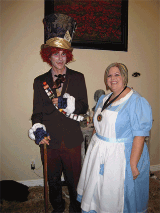 Jenn as Alice and Strider the Mad Hatter. Jenn made these fabulous costumes.