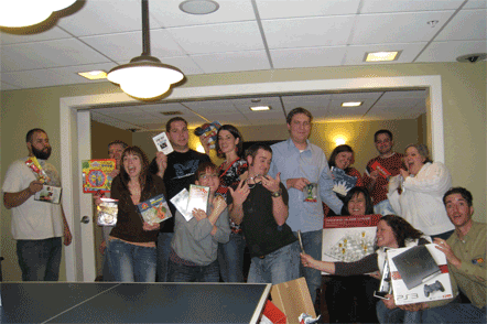 All of our friends with their white elephant loot