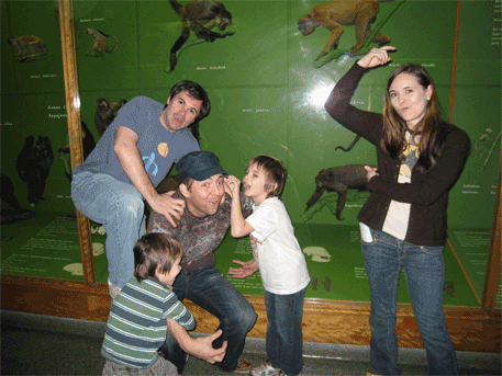 Jeremy, Silas, Jason, Milo, and Amber behaving like monkeys at the Museum of Natural History