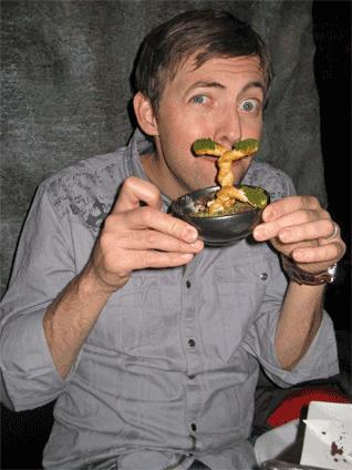 This is Jason at the Ninja with his Bon Sai dessert.