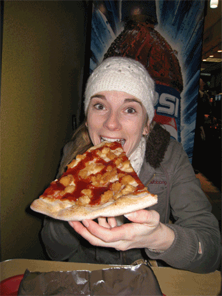 Wow! Now that's a slice! That's me and my Ray's Pizza