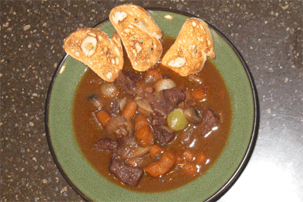 This delicious Beef Bourguignon took 3 hours and whole bottle of red wine to make.