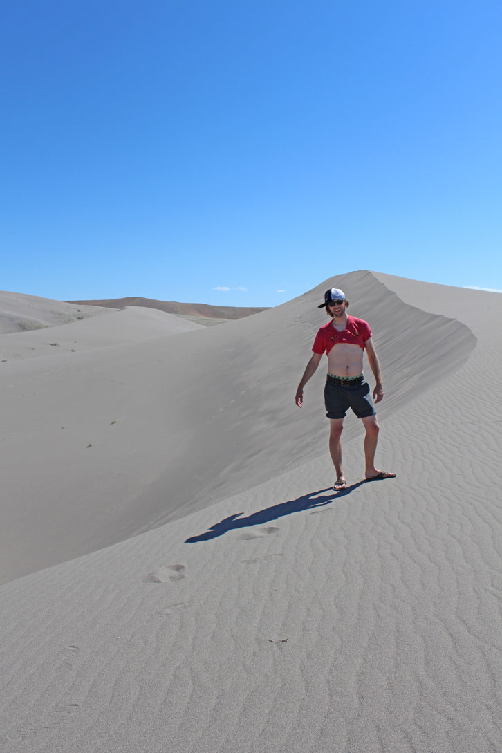 Just five minutes in the heat and sand of Bruneau Dunes and this happened.