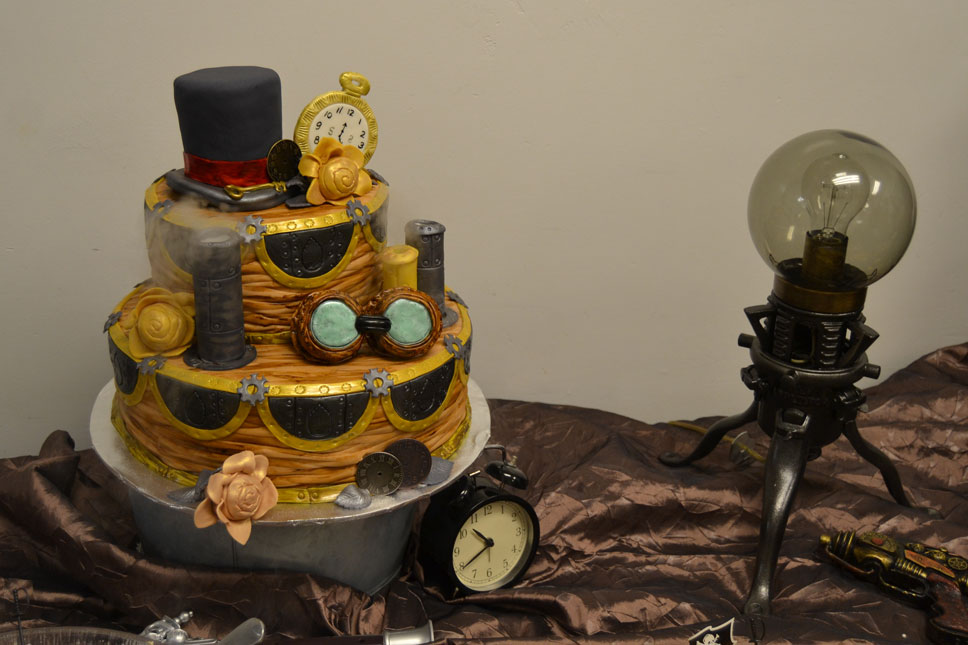 The cake Robyn made for us featured riveted seams and vented steam.