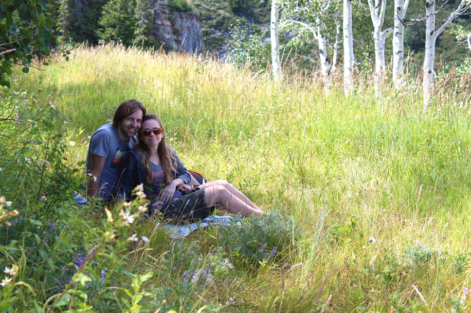 We found the perfect grassy patch shaded by a cropping of aspens on which to picnic.