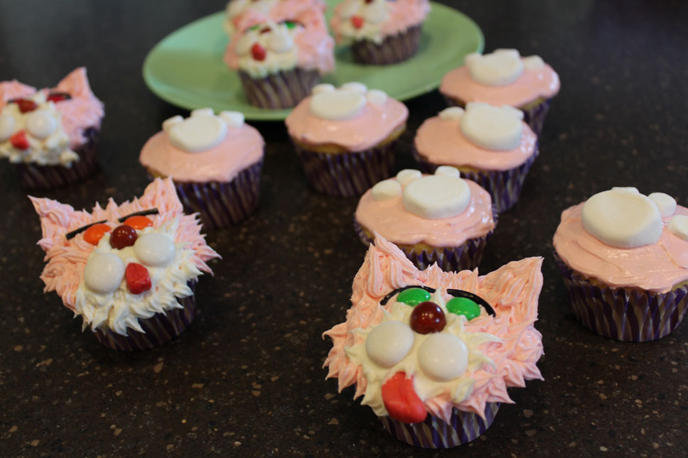For Isabelle's and Abigail's birthdays, Jason and I made pink kitty cupcakes.