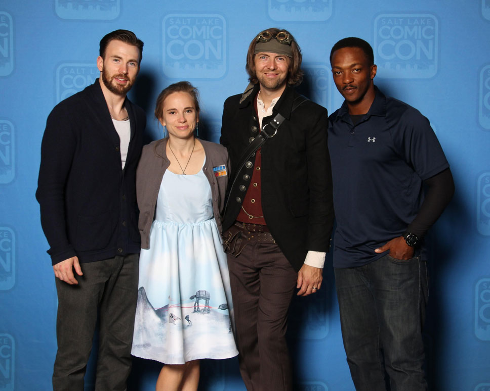Chris Evans and Anthony Mackie, surprisingly, didn't make me feel like a shrimp.