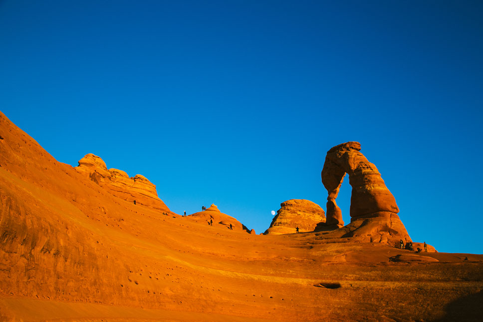 We did some intimidating maneuvering to get into the basin below Delicate Arch.