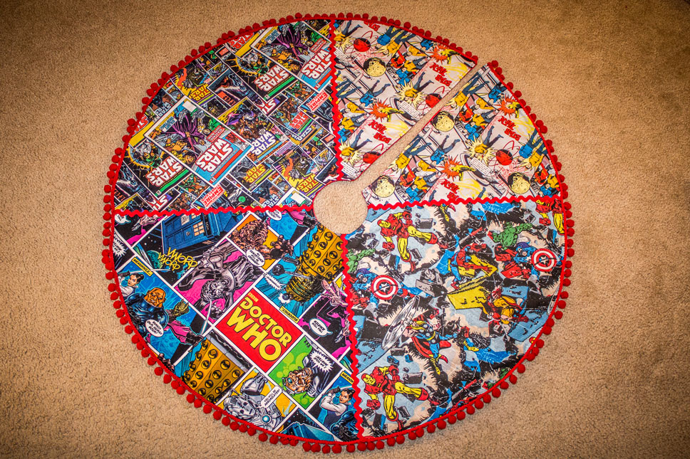 I made this tree skirt featuring Star Trek, Star Wars, Doctor Who, and The Avengers.