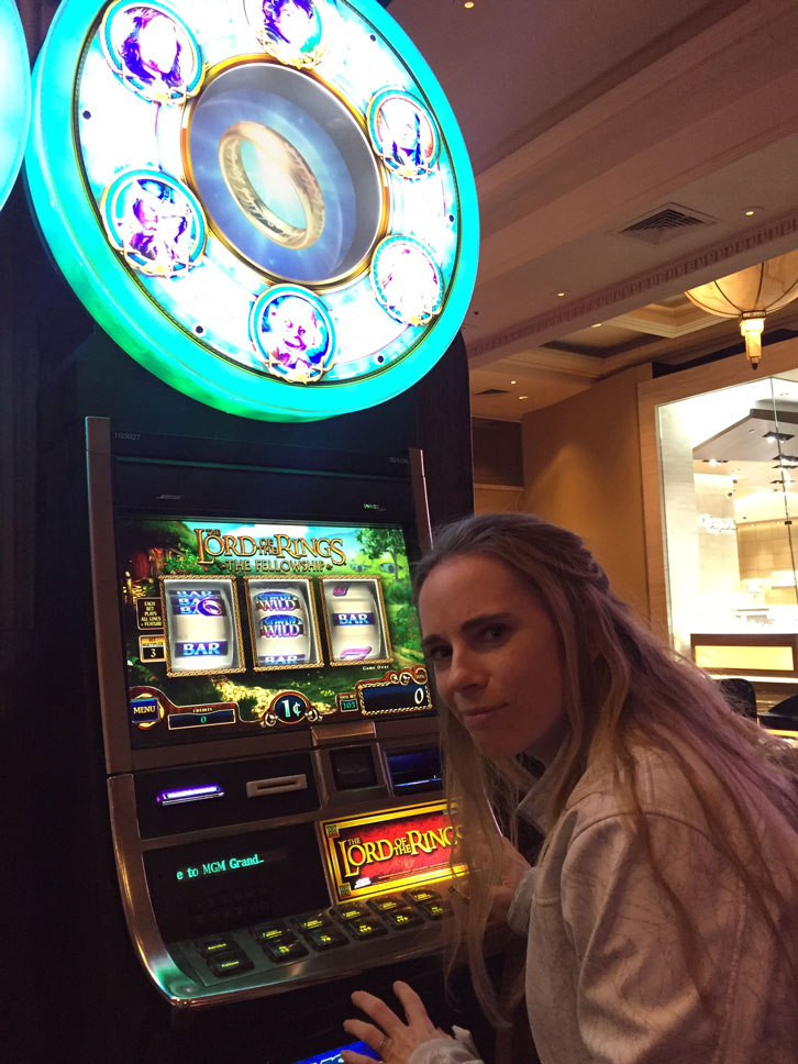 I had to blow a few dollars at this slot machine because the One Ring beckoned.