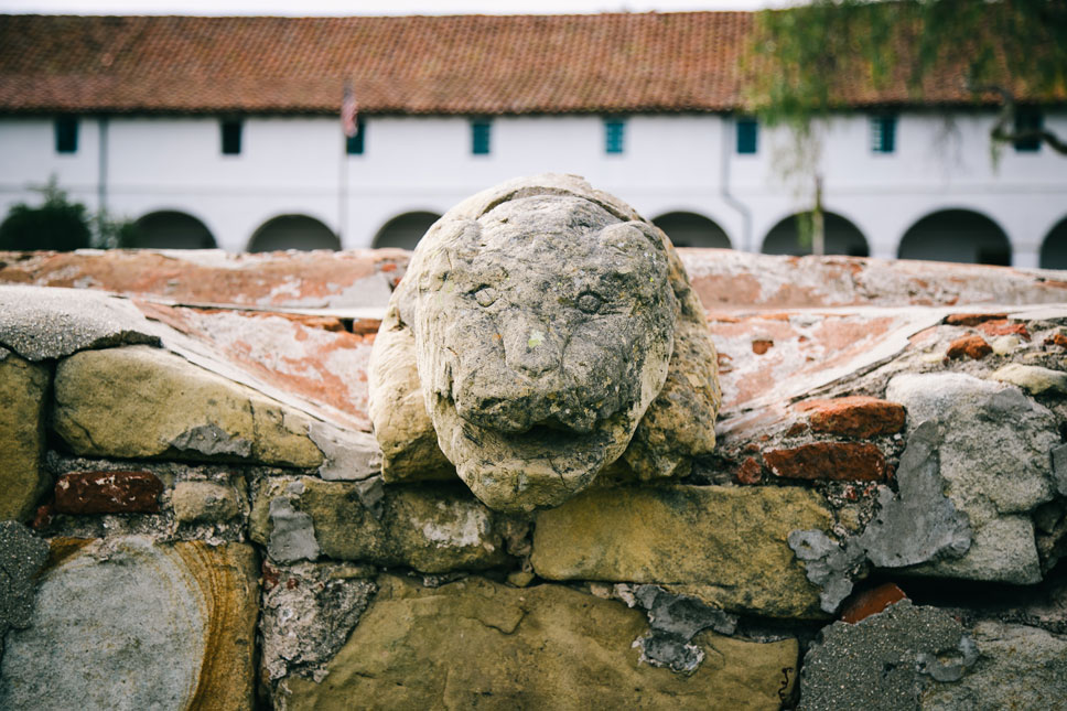 This lion-head spout is thought to be the oldest public sculpture in California. It was created by Chumash artisans for the Old Mission's washing basin.