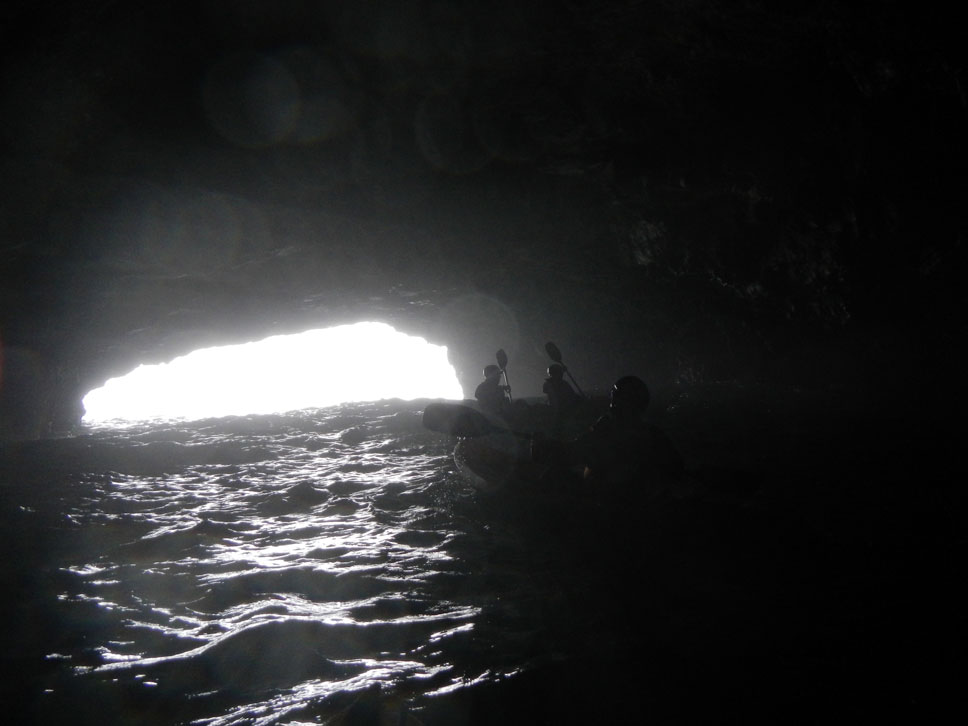 The Cavern was one of the scariest caves we went into. When waves would roll in, its opening would almost disappear in their crests.