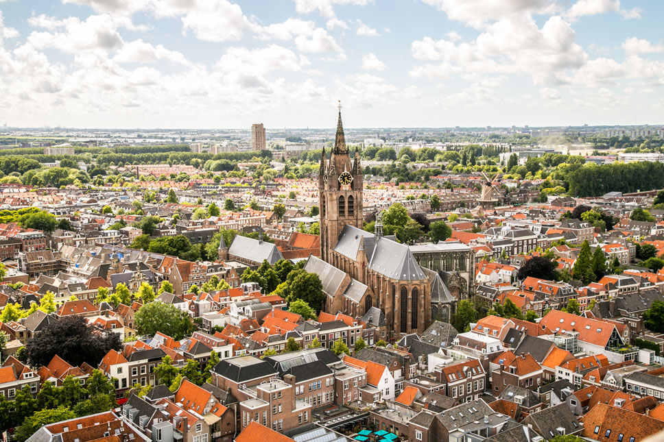 The Oude Kerk's tilted tower adds skewed interest to Delft's pretty scene.
