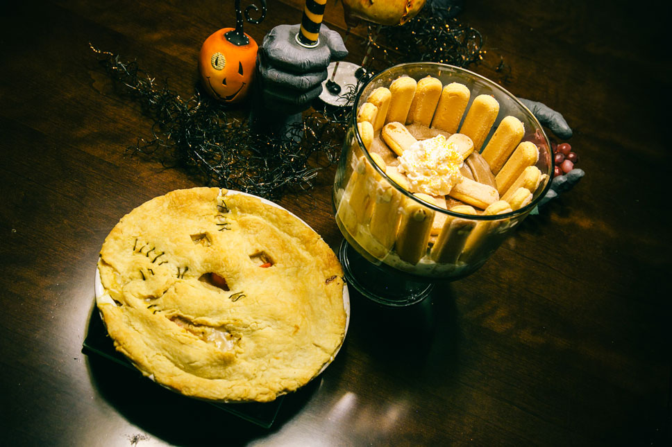 Our Leatherface potpie was amazing! Our cake? It tasted like a chocolate omelet.