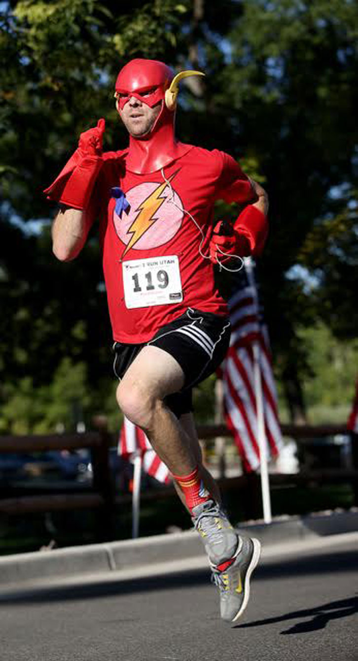 Jason donned uncomfortable headgear again for the Fallen Officers Memorial Run for which he cut his nose and got his picture in the paper. Photo courtesy of Laura Seitz.