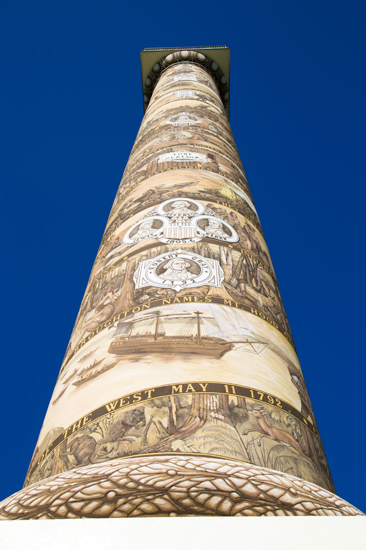 The Astoria Column was built in 1926 and rises 125 feet from Coxcomb Hill.