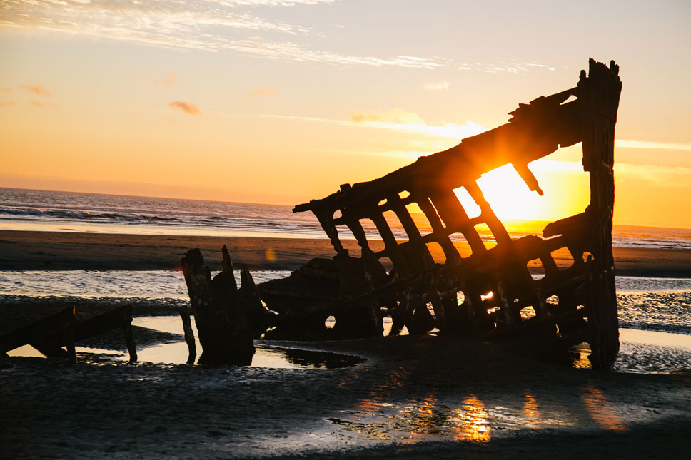 In 1906, the Peter Iredale was run ashore by a nasty northwest squall.