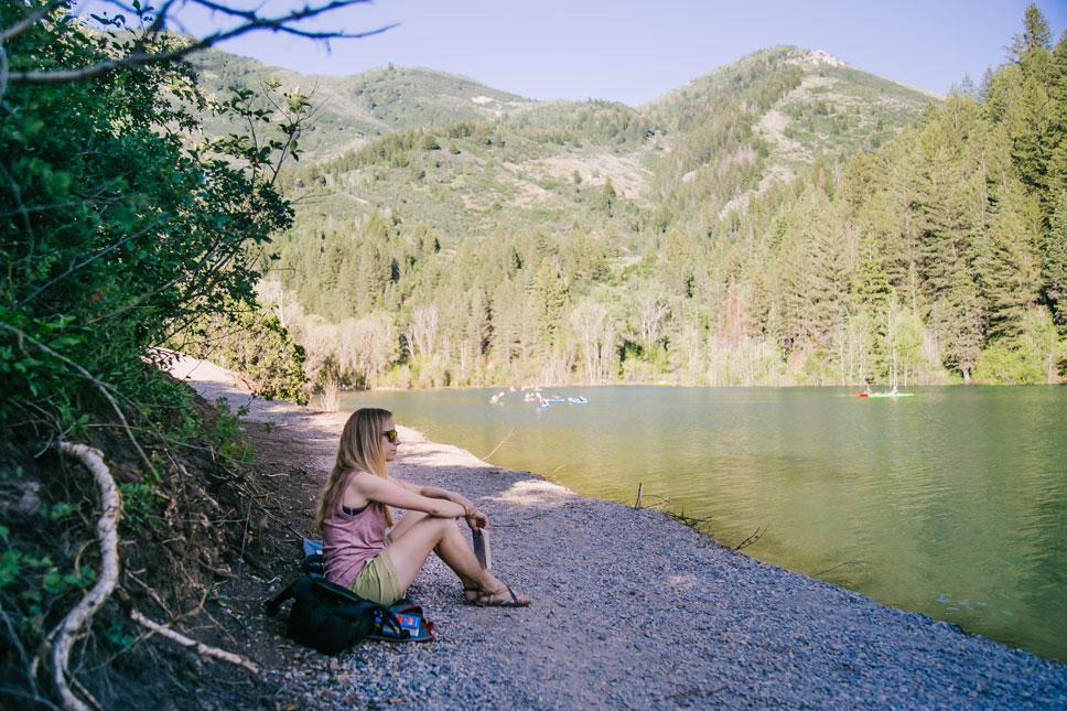 Tibble Fork Reservoir is a little too popular for my own good. Finding a quiet place in its shade required some meandering.