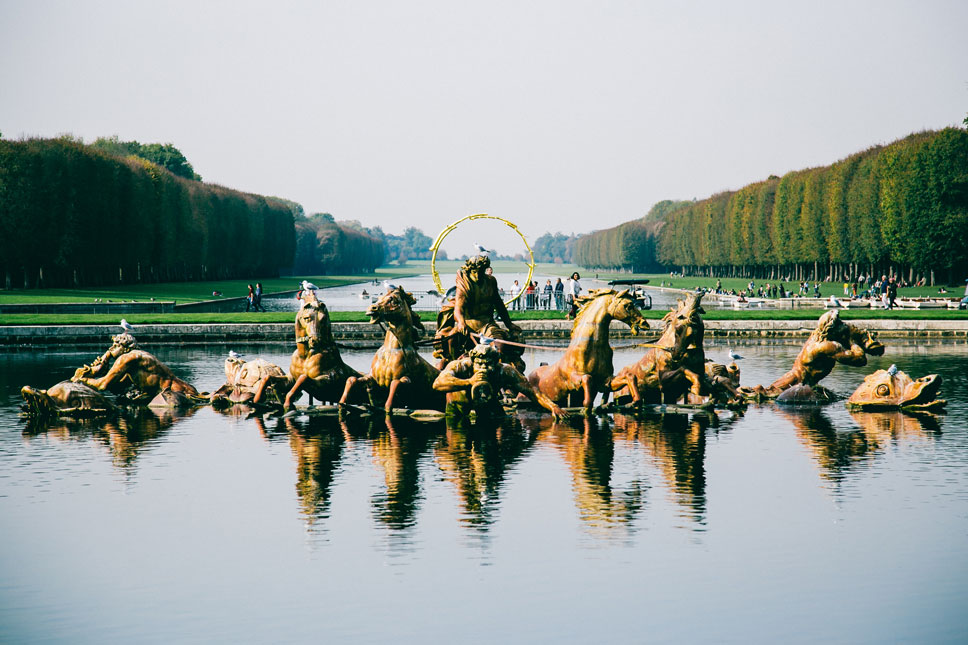 Versailles' most famous water feature, Apollo's Fountain, was made of gilded lead in 1670.
